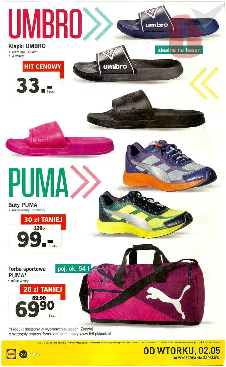 nowe promocje moda designerska świetna jakość Lidl gazetka 02.05.2017 Maj - klapki Umbro, buty Puma, torba ...
