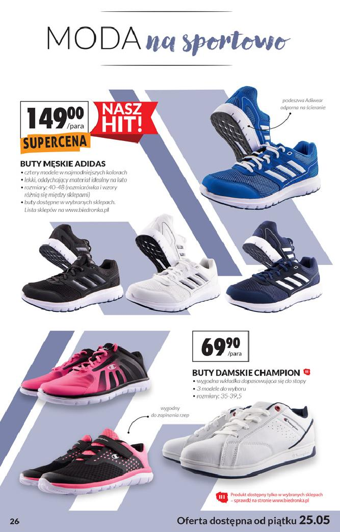Biedronka 25 maja 2018 gazetka buty champion, buty adidas