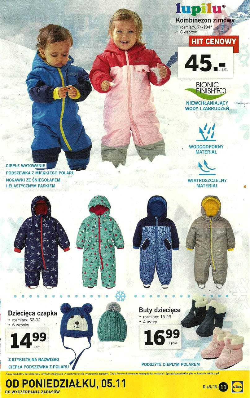 Lidl 5 11 2018 Listopad Katalog Lupilu Kombinezon Zimowy Buty Dziecieca Czapka