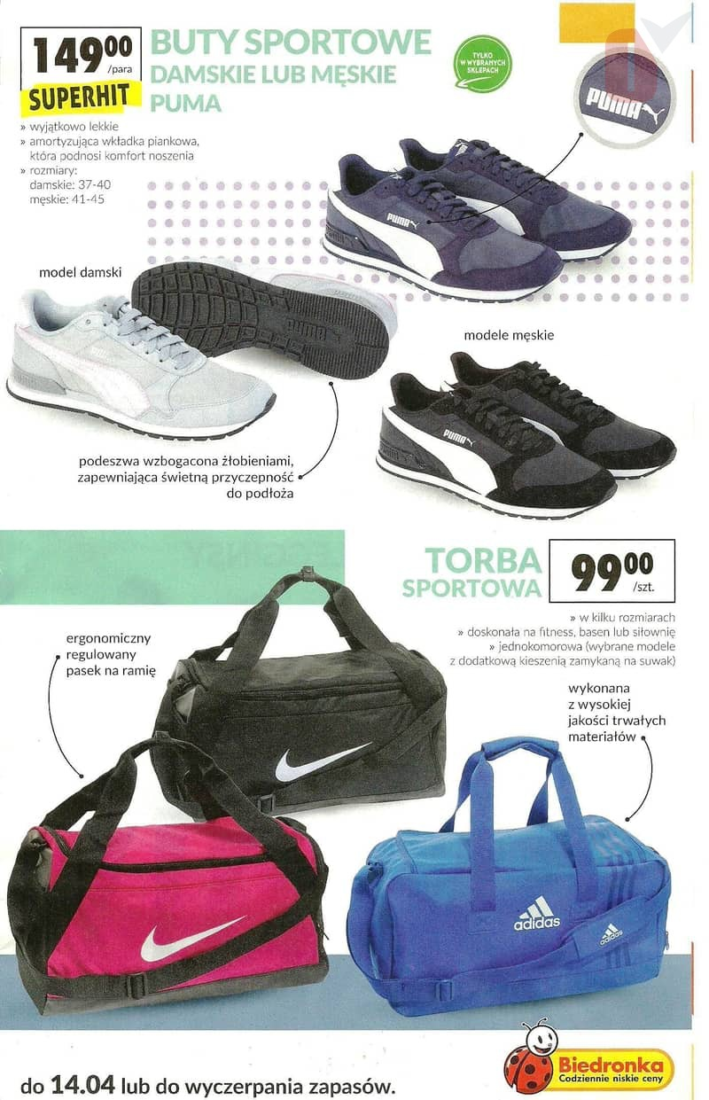 7e7762b0e5f61 Biedronka gazetka 1.04.2019 i 4.04.2019 - torba sportowa Adidas Nike, buty  sportowe Puma