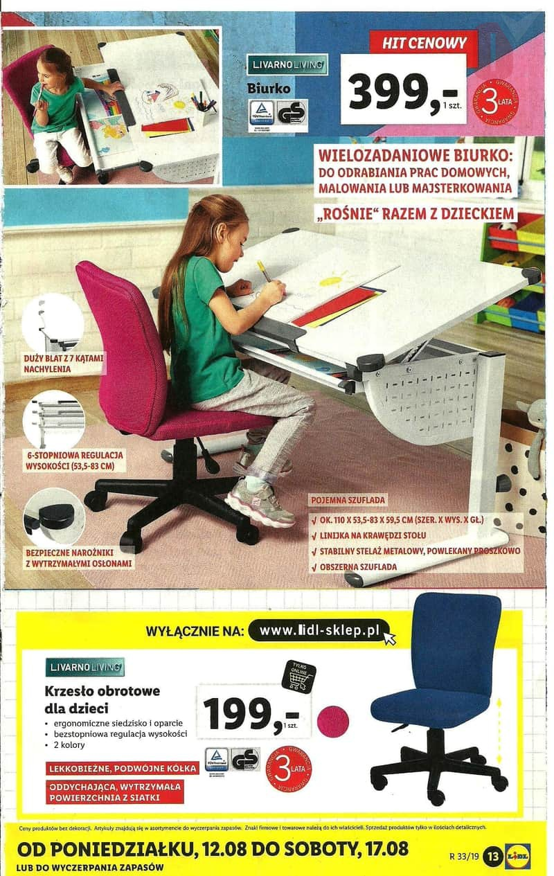 Lidl gazetka 12.08.2019 sierpnia Szkoła krzesło obrotowe